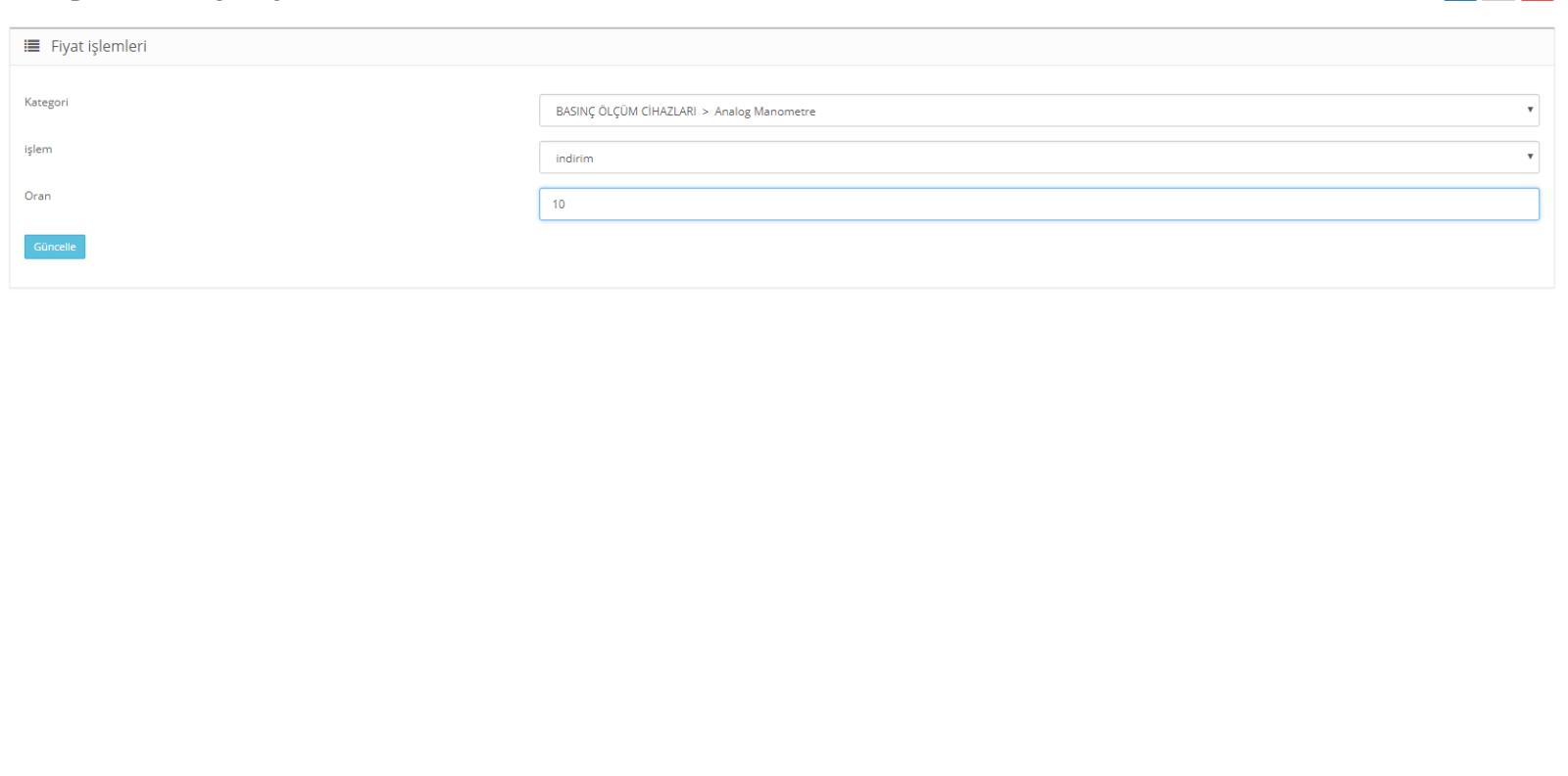 Opencart 2.x Kategori bazlı indirim ve zam uygulama