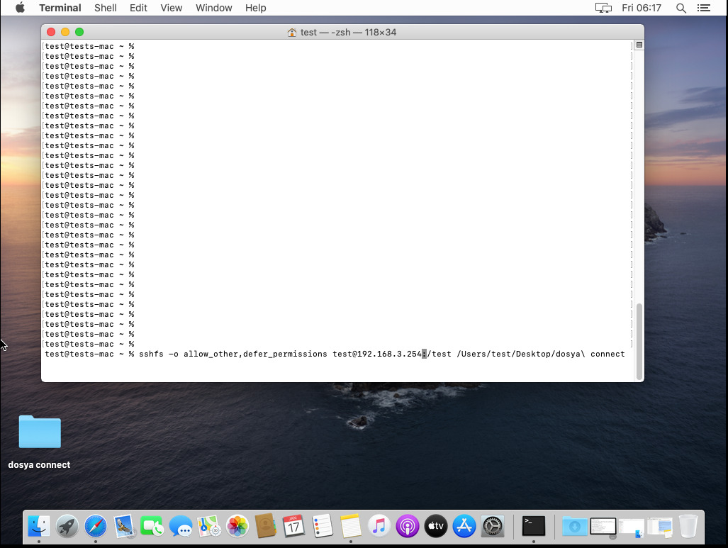 macOS uzak server disk olarak bağlanma